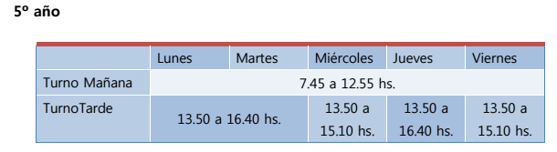 Horario 5to. año final